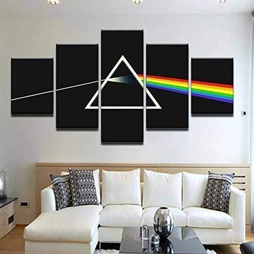 bnkrtopsu 5 Cuadro en Lienzo 5 Fotos Juntas en una Sala de Estar Dormitorio Creativo murales Decorativos y Carteles(Sin Marco) Pink Floyd