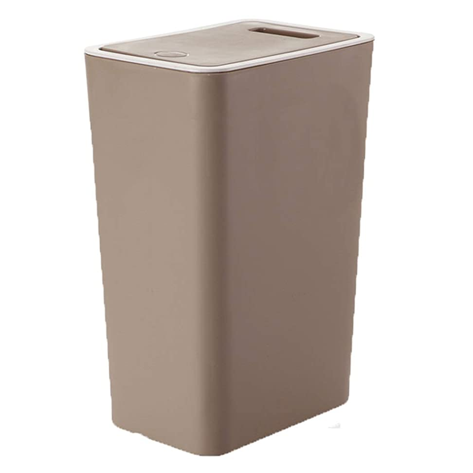 盗難ワイン快いゴミ箱プラスチックゴミ箱、上に溝が付いているプッシュオン式のふた、使いやすいキッチンリビングルームバスルーム アナックボーイ (Color : Brown)