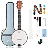 Mulucky 4 String Banjolele, Banjo Ukulele Concert Size 23 Inch, Closed Solid Wood Back, Beginner Kit with Truss Rod Gig Bag Tuner String...