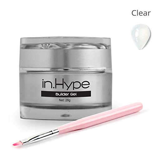 IN.HYPE Hard LED/UV Builder Gel for DIY Nail Extensions, Strengthening & Sculpting + Nail Art UV Gel Brush with Nylon Head