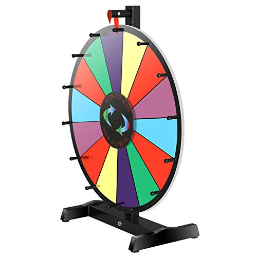 Find Discount Cartener Portable 18 Round Tabletop Spinning Board Prize Wheel 14 Slots W/Wood Stand ...