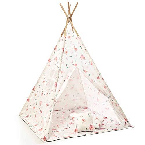 Skojig Spielzelt inkl. Boden & Kissen - 160x120x120 Indianerzelt für Kinderzimmer oder im Garten | Kinderzelt Tipi Zelt - Lieferung mit Tragetasche