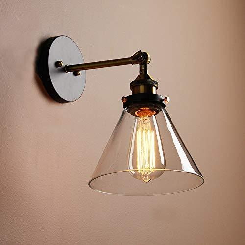 FEI Industriel en Verre Transparent Rideau Mur Barre de café Lampe Murale Applique Lampe rétro éclairage