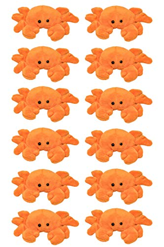 Wildlife Tree 12 Pack Crab Mini 4 Inch Small Stuffed Animals Bulk Bundle Ocean Animal Toys Sea Party Favors for Kids
