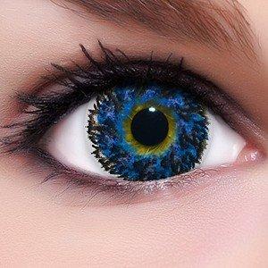 Circle Lenses blaue 'Diamond Blue' farbig ohne und mit Stärke + Behälter Big Eyes farbige Kontaktlinsen