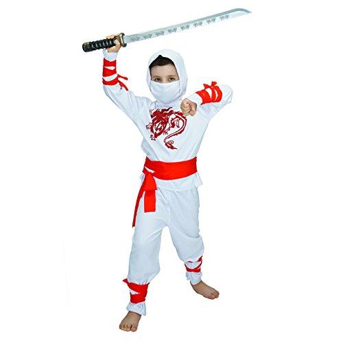 SEA HARE Disfraz de Disfraz de guerrera Samurai de White Power para niño (S)