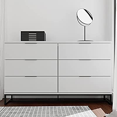 Edenbrook Preston 6DrawerDresser -Storage Chest - Modern Design - Easy Assembly - Multiple Colors, White