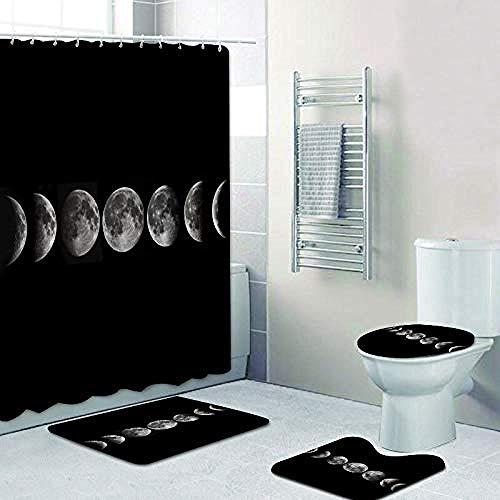 AETTP Moderne Noir Pleine Lune Phases décor à la Maison scandinave Phase Lunaire Lune Rideau de Douche Tapis de Bain Tapis Tapis pour Salle de Bain Baignoire 180x180 cm