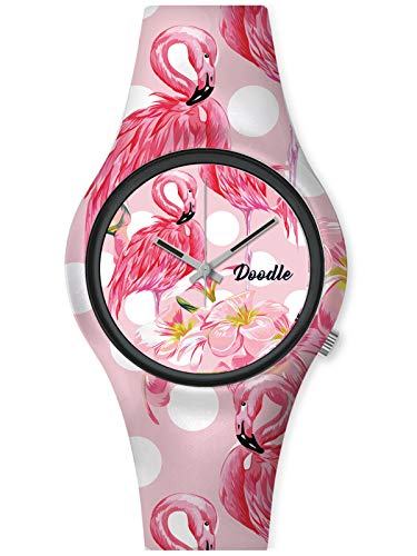 Doodle Watch Damenuhr Nature Mood Tattoouhr Flamingo DO35004
