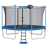 PAPAJET Trampoline 9x14FT Oval Trampolines for Kids with Safety Enclosure Net, Large Outdoor Backyard Trampoline TUV Certificated with Basketball Hoop, Ladder