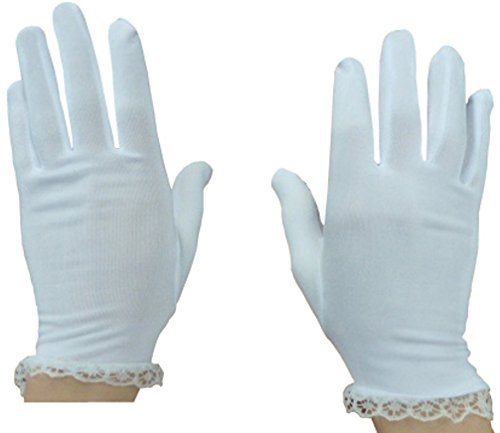 N'Ice Caps Girls Lace Trimmed Special Occasion Stretch Gloves (6-10yrs)