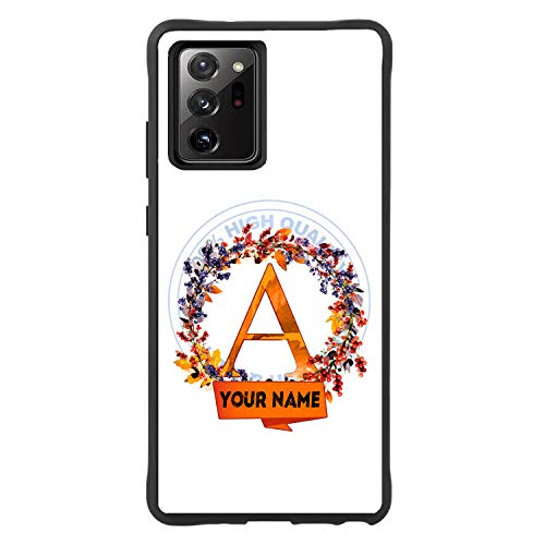 BRGiftShop Personalized Custom Name Beautiful Acorn Fall Autumn Wreath Monogram Letter A Rubber Phone Case for Samsung Galaxy Note 20 Ultra