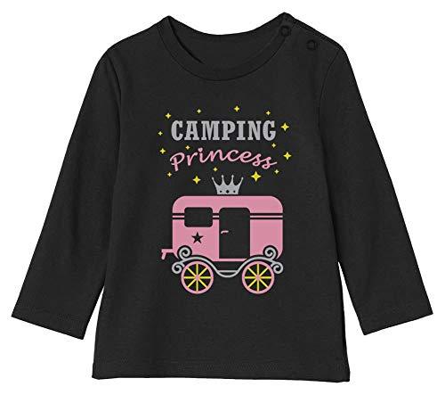 Camping Princess - Camp d'été Fille T-Shirt Bébé Unisex Manches Longues 6-12M 66/76cm Noir