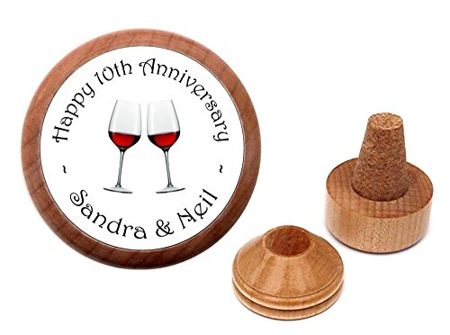 'Custom made for any Anniversary' personalized bottle stopper & cork holder