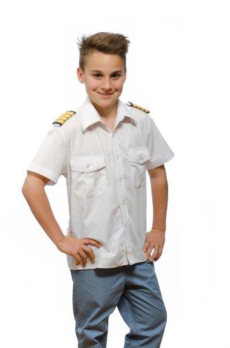 Nordhandel Pilotenhemd, abnehmbare Schulterklappen, Kurzarm Kinder, weiß, Größe 128