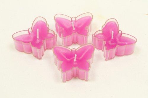 Teelichter in Schmetterlingsform in pink/fuchsia - 4 Stück pro Verkaufseinheit