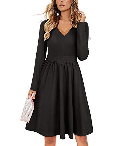 v28a long sleeve dresses ULTRANICEWomenCasualLongSleeveDressesVNeckSwingDresswithPockets