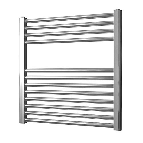 Greened House Chrome Straight Electric Heated Towel Rail 600mm wide x 600mm...