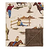 Sweet Jojo Designs Cowboy Wild West Baby Boy Receiving Security Swaddle Blanket for Newborn or Toddler Nursery Car Seat Stroller Soft Minky - Tan and Red