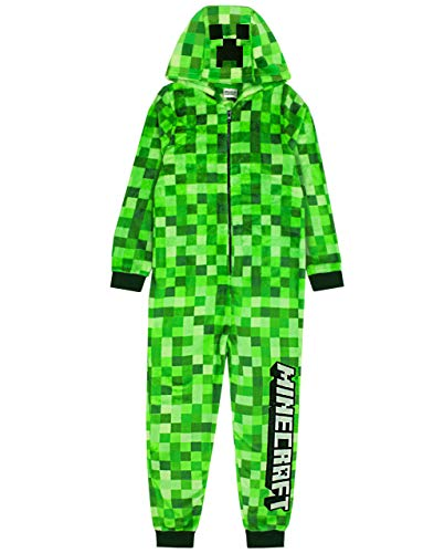 Minecraft Onesie Pixelated Creeper Sleepsuit Gamer Gift For Boys 8-9 Years Green