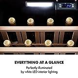 Klarstein Vinetage Uno Weinkühlschrank, Temperatur: 4-22 °C, Kompressor, 2 Holzregalebenen, LED-Beleuchtung, UV-Schutz, Weinkühler, Klein, Freistehend, 46 Liter / 12 Flaschen, Rot - 6