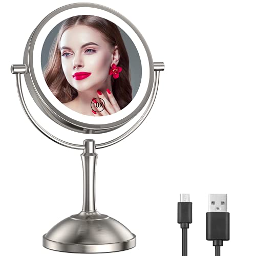 Gospire 8'' Lighted Makeup Mirror with Double Sided 1X/10X Magnification, [54 LED Lights & 3 Color Lighting & Adjustable Brightness] Touch Control Cosmetic Mirror [Rechargeable] Vanity Mirror