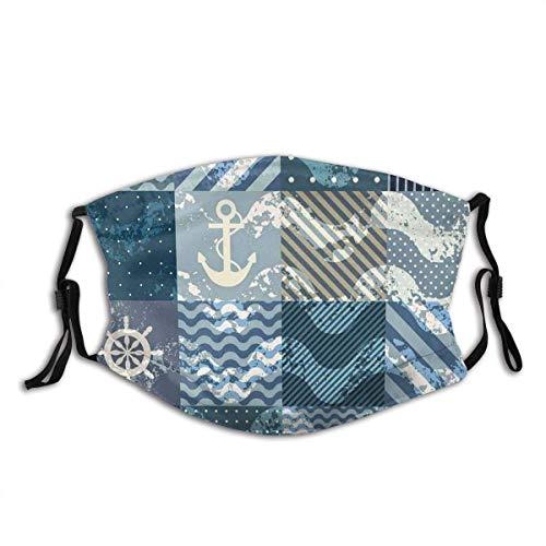 Tema náutico marino Patrones de ondas en cuadros de estilo patchwork