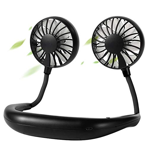 BAGZY Mini Ventilador de Banda para el Cuello Ventiladors Silencioso Portátil Ventilador de Manos Libres Ventilador USB Recargable con Doble Cabeza de Viento para Oficina Hogar Viajar Acampar Rosado