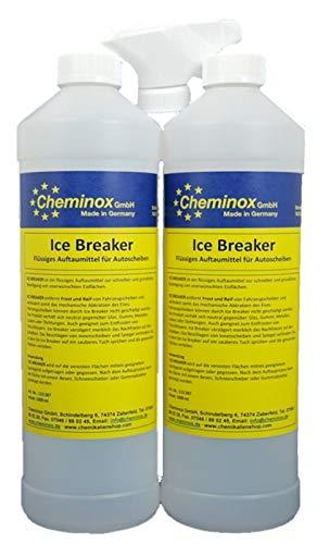 Cheminox Ice Breaker 2L (2X 1000 ml), Scheibenenteiser Konzentrat, Enteiser, Enteiserspray inkl. Sprühkopf
