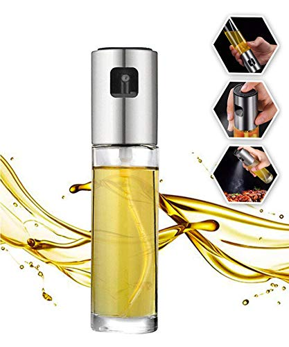Olive Oil Sprayer Stainless Steel Mister Dispenser BBQ Refillable Oil Vinegar Spritzer with Oil Spray for Cooking Salad Grilling Roasting Air Fryer Kitchen-1Pcs-Clear