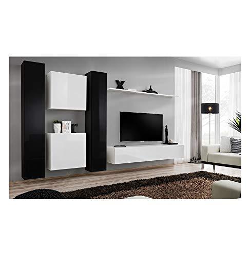 ASM Ensemble TV Mural - 6 éléments - Noir et Blanc