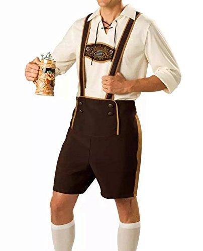 Herren Oktoberfest Cosplay Halloween Trachten Lederhose kurz Alpenjäger Trachtenhose Kniebundhose 3 Teiliges Trachtenkleid Set ,Hemd mit Hut und Lederhose (EU39(L), Weiß)
