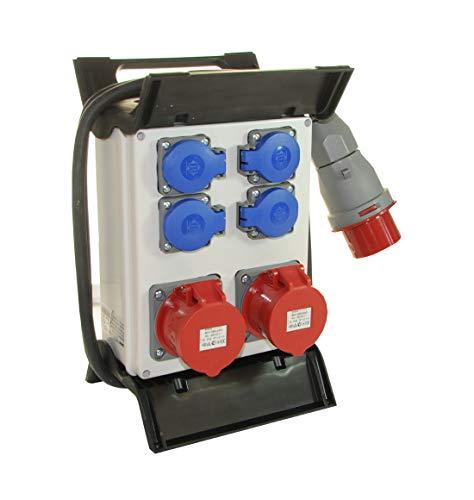AW-TOOLS Mobiler Baustromverteiler/Standverteiler 4 x 230V/16A Schuko & 2 x CEE 16A/400V verdrahtet & 1,5m Zuleitung
