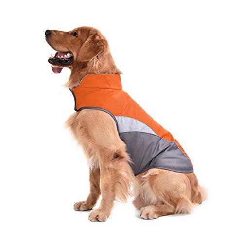 SILD Pet Dog vêtements imperméables Chien Gilet Coupe-Vent empêche la Pluie en Nylon avec Sport Chien Veste réfléchissante Garder au Chaud pour Animaux de Compagnie (Orange L)
