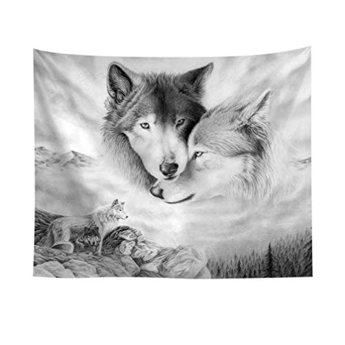 VOSAREA Wild Wolf Animal Tapestry on Feet with Front View Wall Hanging Cloth Background for Living Room Bedroom (150 x 100 cm)