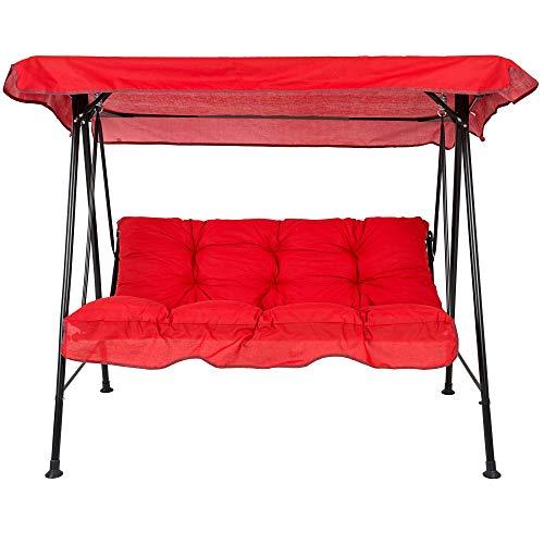 PATIO 3-Sitzer Hollywoodschaukel Tora Gartenschaukel Schaukelbank Sonnendach Sitzpolster Rückenpolster D002-03PB 138 cm (Rot)