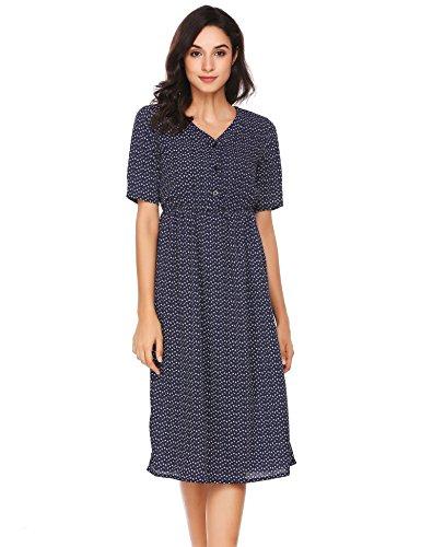Meaneor dames maxi-jurk zomerjurk hemdblousjurk cocktailjurk polka dots retro vintage jurk elegante knielange korte mouwen met knopen