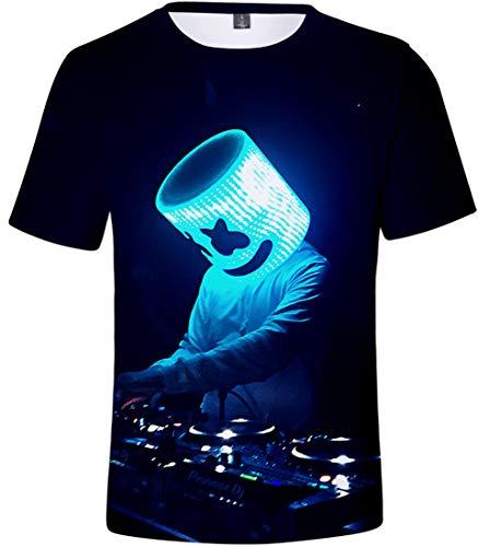 OLIPHEE 3D digital gedruckt T-Shirt für DJ Fans Sommer Herren Short Sleeve Shirt Schwarz Blau 2XS