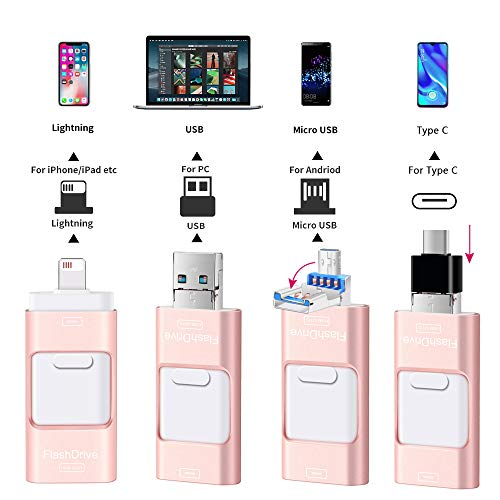 Sunany Flash Drive for iPhone 128GB, Lightning Memory Stick External Storage for iPhone/PC/iPad/Android and More Devices with USB Port (128GB Pink)