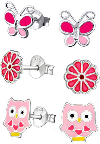 Pendientes de tuerca de plata de ley hipoalergénica con diseño de búho, flor pequeña y mariposas pequeñas (3 pares)