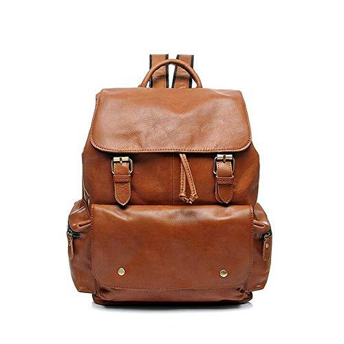 Teyun. Leder Laptop-Rucksack doppelte Versicherung Rucksack mit Kordelzug Design, einfach und großzügig (Color : Brown)