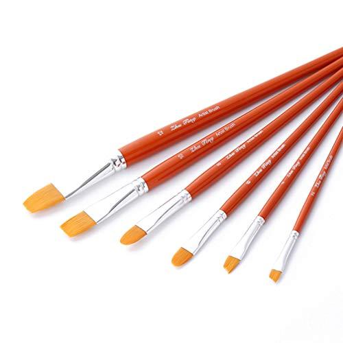 iplusmile Penselen - Acrylverf Penseel Kleine Kwast Nylon Haarborstel Kinderen Penselen Kunst Set Voor Olieverfschilderij (6 Stuks Oranje)