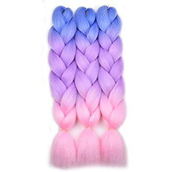 BACANA Ombre Braiding Hair Kanekalon Braiding Hair Extensions 3Pcs Jumbo Braiding Hair for Box Braids 24inch Blue/Purple/Pink