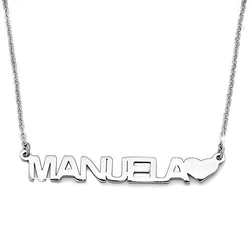 Beloved Collana donna girocollo con nome in acciaio - lunghezza regolabile - anallergica - ciondolo donna, color argento (Manuela)