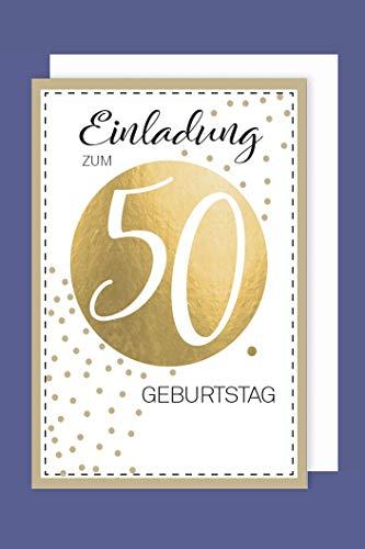 AvanCarte Einladungskarte 50 Geburtstag 5er Set Golddruck Punkte 5 Karten 15x11cm