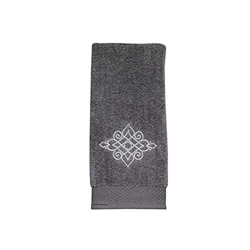 Riverview Embroidered Fingertip Towel - Nickel
