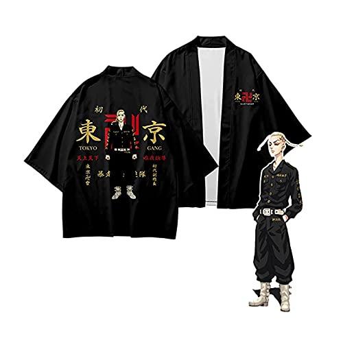 Yokbeer Chaqueta de Punto Ken Ryuguji Revengers para Hombre y Mujer, con Capa de Kimono, Disfraz de Cosplay, Color Negro (Color : C, Size : L)