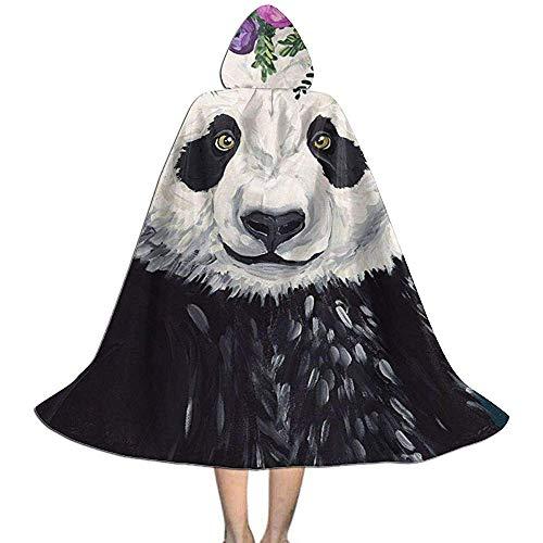 Kindercape mantel met capuchon bloem panda schilderij unisex cape voor Halloween Kerstmis party cosplay kostuum cosplay horloge