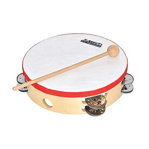 Voggy's großes Tamburin mit Schellenkranz Klangspielzeug Instrument Kinder (12 Schellen, Kunststoff-Fell, Griffloch, 225 x 55 mm, inkl. Holzschlägel), braun
