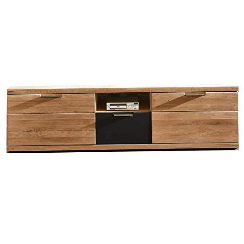 Bianco TV-Board teil-massiv aus Wildeiche - hochwertiges Low-Board für Ihr Wohnzimmer - 180 x 52 x 48 cm (B/H/T)